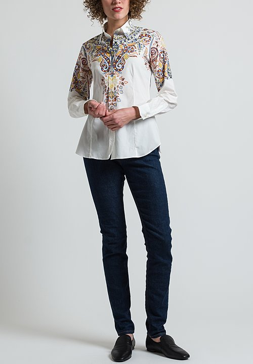 Etro Paisley Print Shirt in White/ Blue