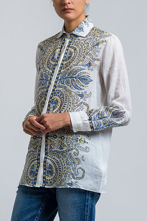 Etro Paisley Printed Button-Down Shirt in White/ Blue