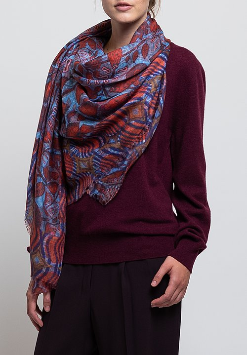 Alonpi Cashmere Printed Scarf in Red