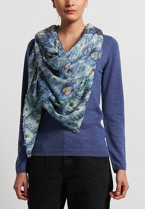 Alonpi Cashmere Printed Square Scarf in Turquoise Blue