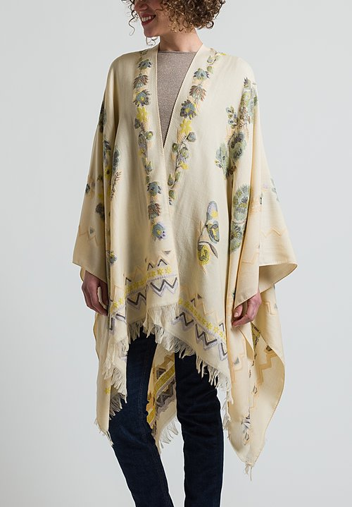 Etro Floral Embroidered Poncho in Cream