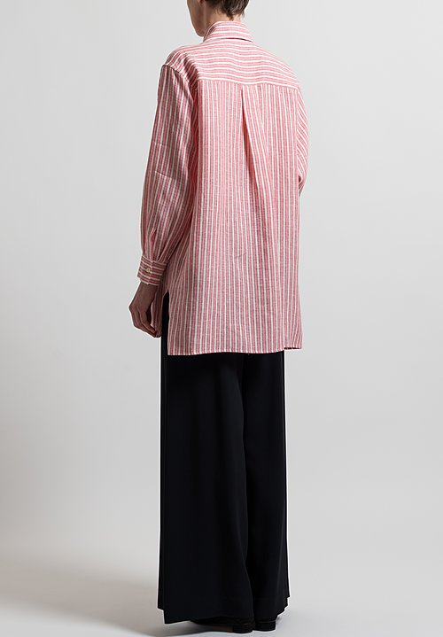 Etro Oversized Button-Down Shirt in Pink/ White Stripes