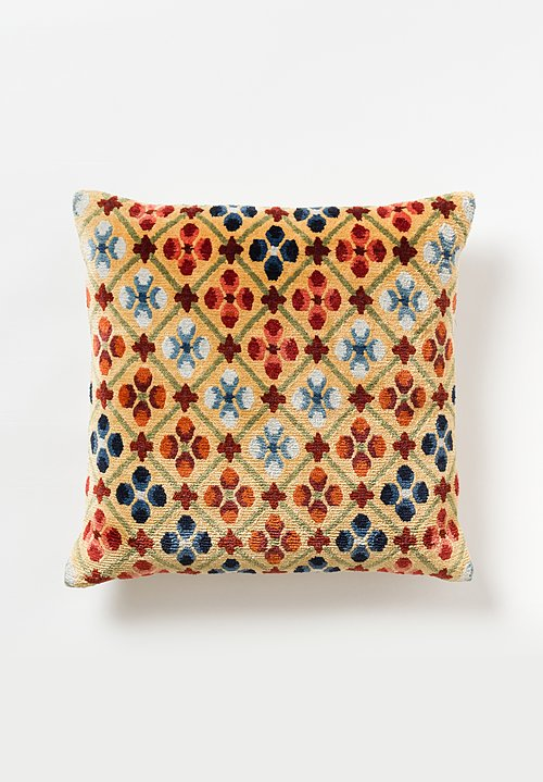 Tibet Home Hand Knotted & Woven Square Pillow in Linga Butter