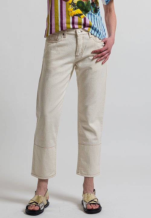 Marni Raw Drill Jeans in Glass