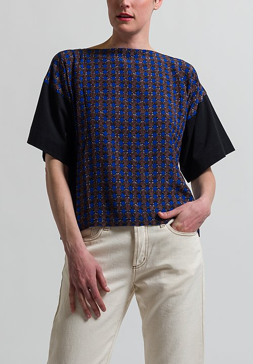 Marni Shell Printed T-Shirt in Black/ Raisin