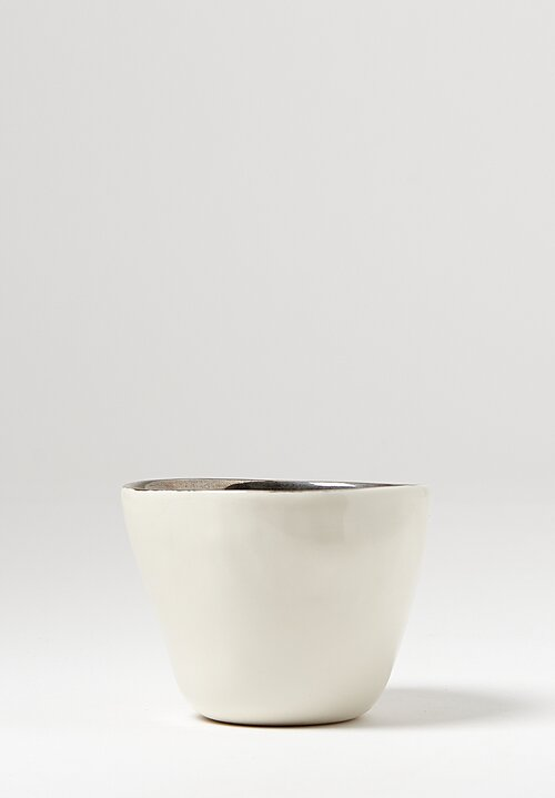 Bertozzi Handmade Porcelain Metallic Border Cup in White