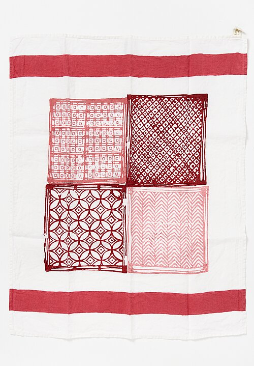 Bertozzi Handmade Print Kitchen Towel in Burgundy