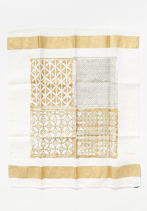 Bertozzi Handmade Block Print Kitchen Towel in Gold