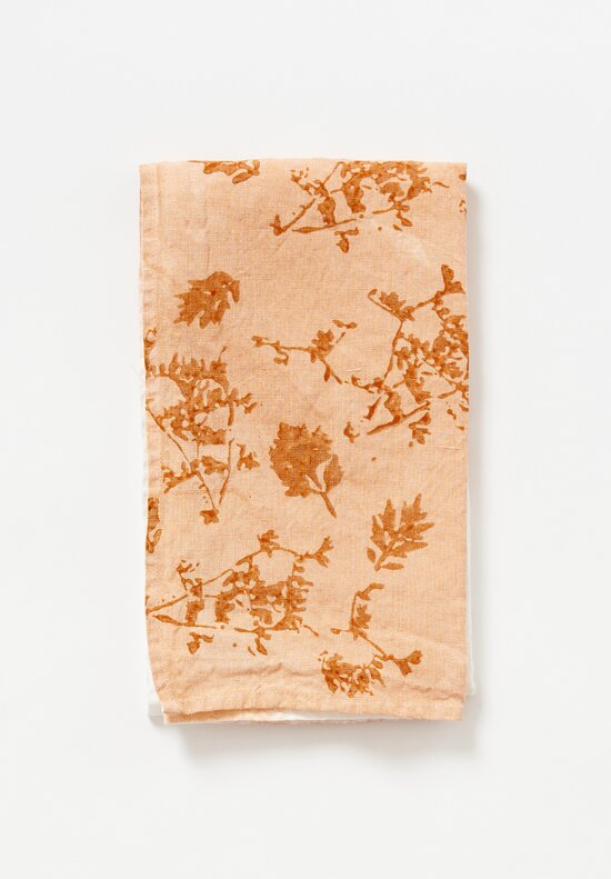 Bertozzi Handmade Crumpled Linen Two-Tone Kitchen Towel	in Orange