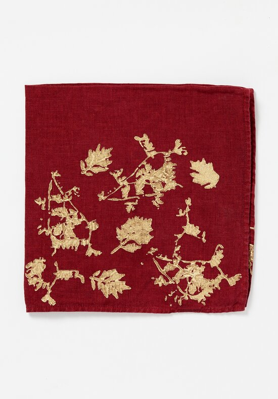 Bertozzi Handmade Metallic Printed Napkin in Leaf Burgundy