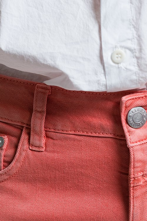 Closed Cropped Narrow Baker Jeans in Coral