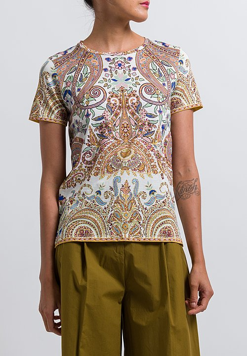 Etro Paisley Printed T-Shirt in Saffron/ Pink