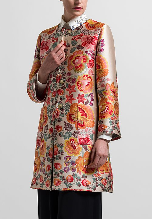 Etro Satin Floral Coat in Pink/ Orange