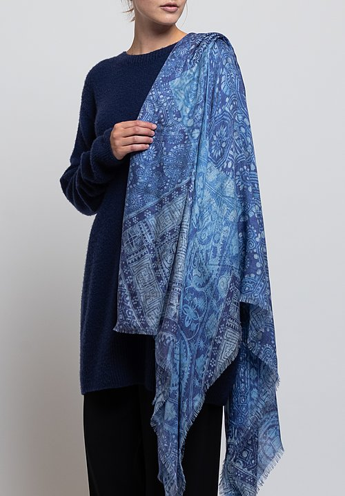 Alonpi Cashmere Printed Scarf in Nikit Blue