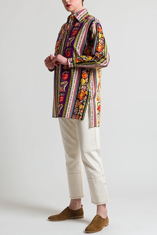 Etro Oversized Floral Print Shirt in Purple / Multi