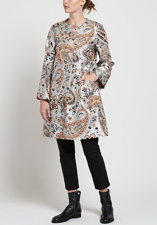 Etro Metallic Paisley Print Coat in Peach / Silver