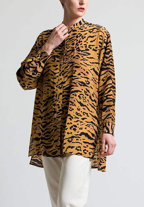 Etro Oversized Tiger Print Shirt in Orange