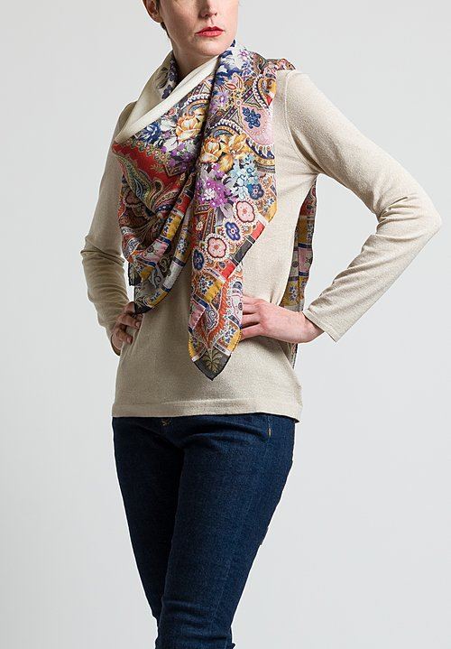 Etro Flower & Paisley Print Scarf in Ivory