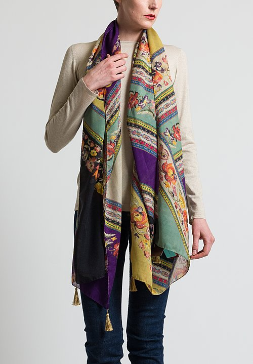 Etro Floral Ribbon Print Scarf in Purple / Multi