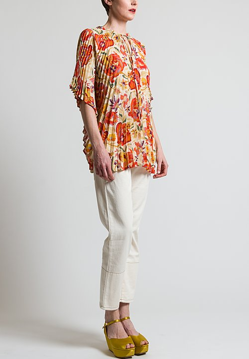 Etro Pleated Paisley Poncho Top in Ivory