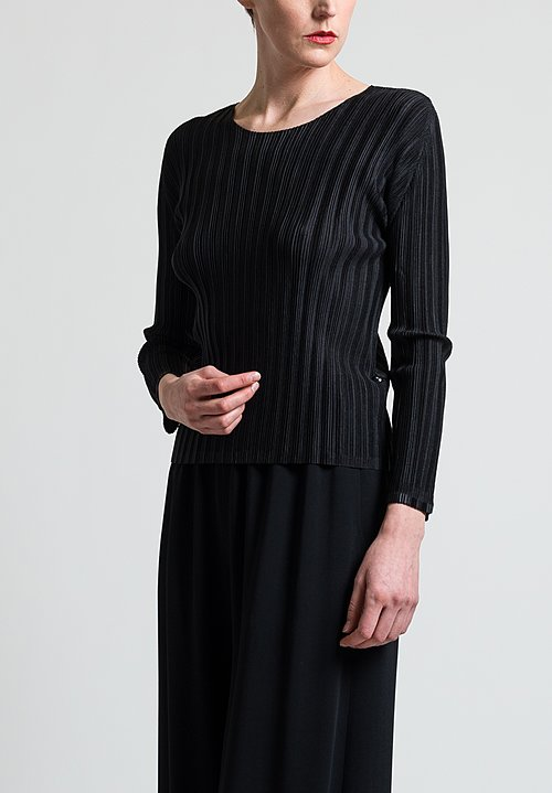Issey Miyake Pleats Please Rib Top in Black