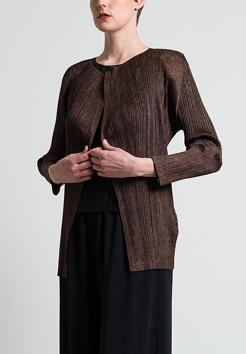 Issey Miyake Pleats Please Open January Jacket in Brown