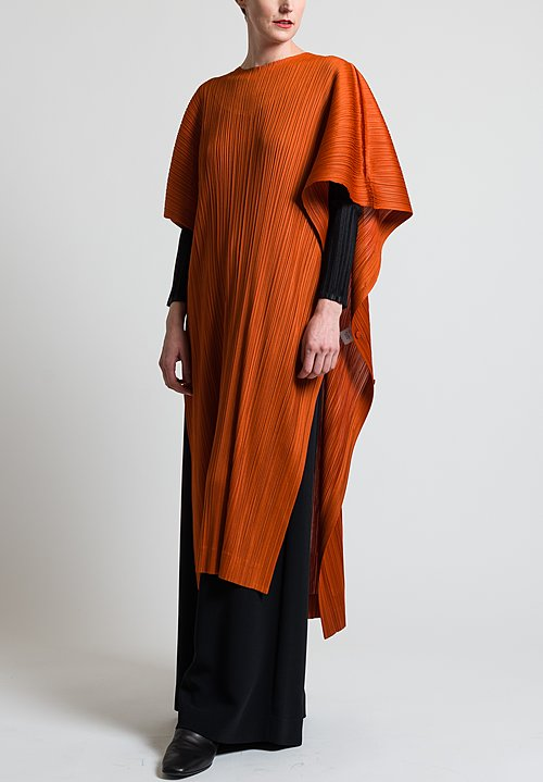 Issey Miyake Pleats Please Long January Poncho in Orange