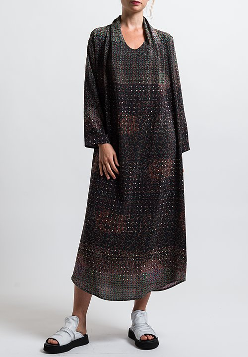 Anntian Shawl Dress in Print Q