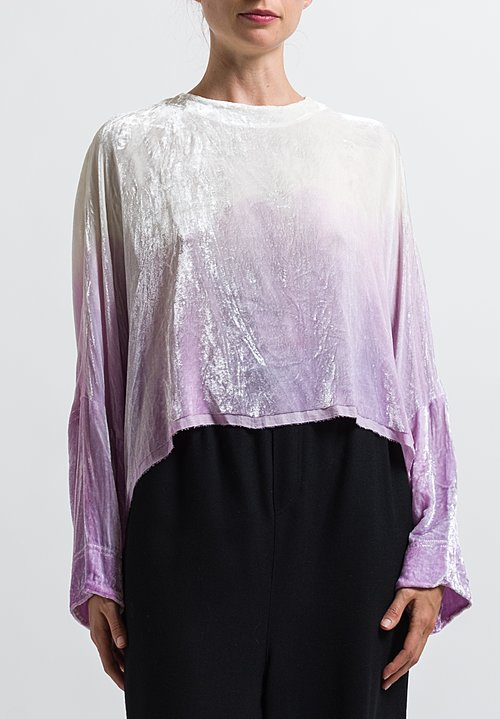 Anntian Velvet Dip Dyed Sweatshirt in Light Purple