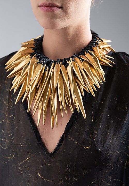 Monies Leather, Gold Foil Spike Necklace