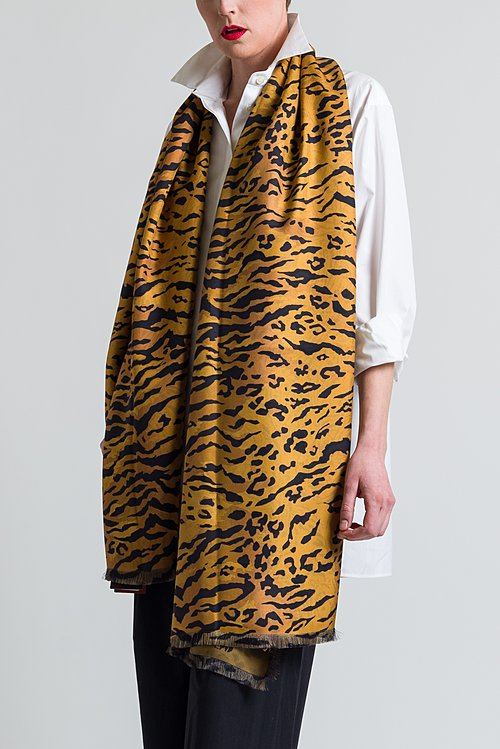 Etro Twill Tiger and Paisley Scarf