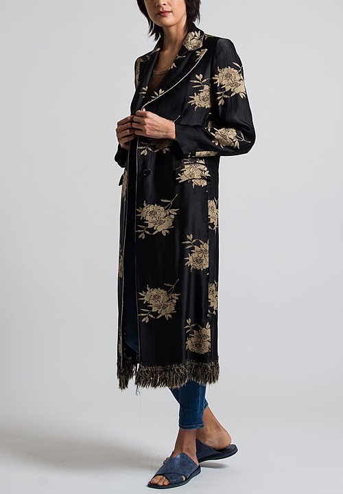 Etro Satin Floral Coat in Black