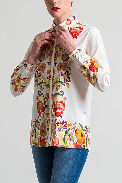 Etro Relaxed Floral Shirt in Red/ White