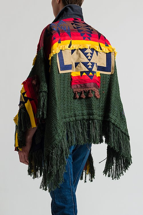 Sacai Summer Tweed Poncho in Forest/ Yellow