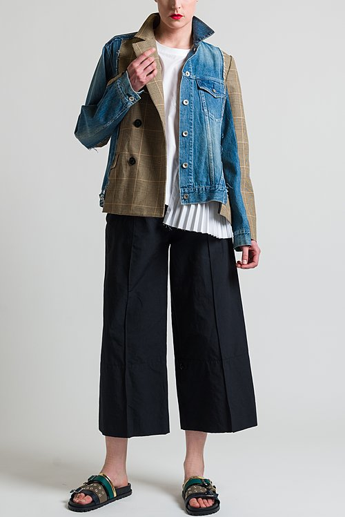 Sacai Glencheck x Denim Jacket in Denim/ Beige