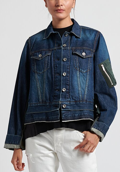 Sacai Multi-Fabric Denim Jacket in Dark X Khaki