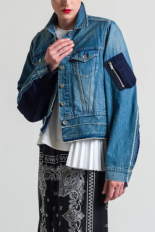 Sacai Multi-Fabric Denim Jacket in Blue X Navy