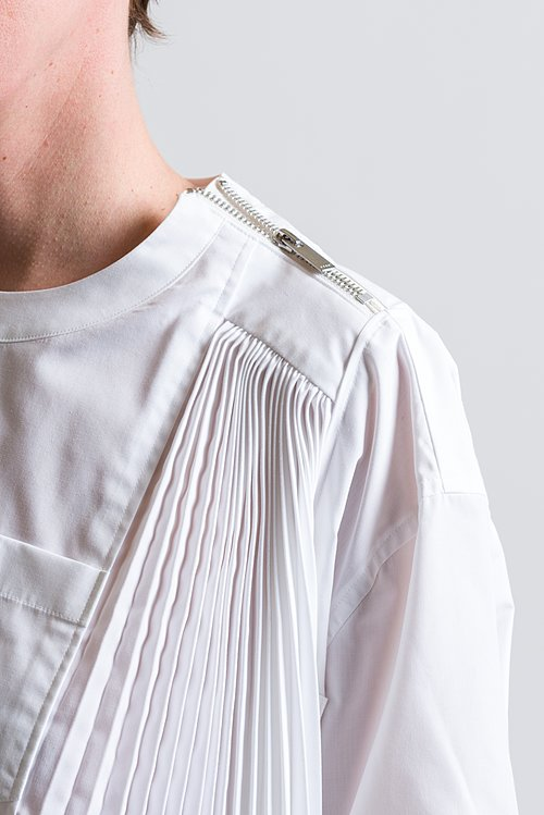 Sacai Pleated Asymmetrical Top in White