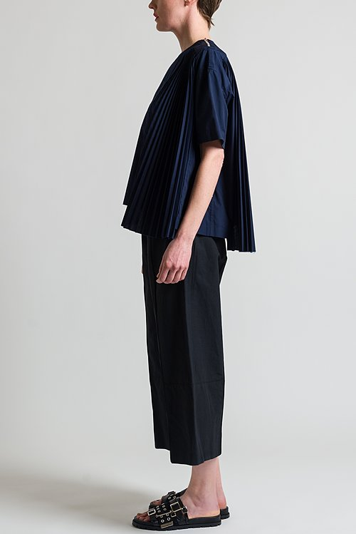 Sacai Pleated Asymmetrical Top in Navy