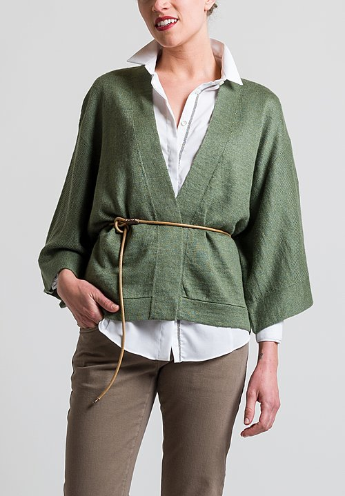 Brunello Cucinelli Cardigan with Leather Belt in Sage
