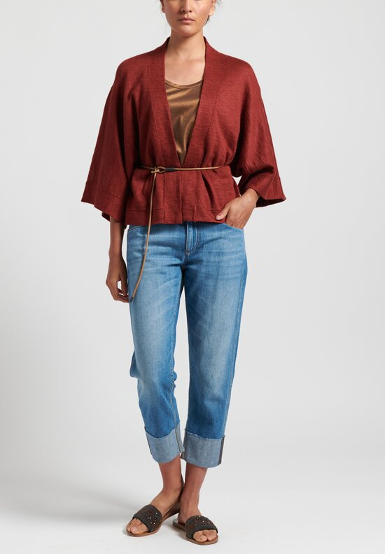 Brunello Cucinelli Cardigan with Leather Belt in Auburn