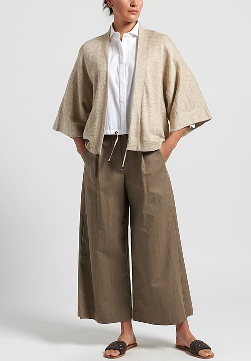 Brunello Cucinelli Cardigan with Leather Belt in Bisque