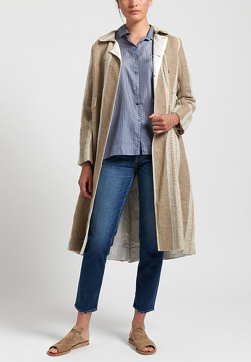 Péro Striped Double Breasted Coat in Natural