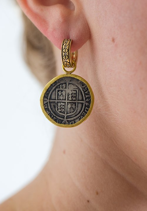 Karen Melfi 22K Rimmed, English Coin Earring Charms