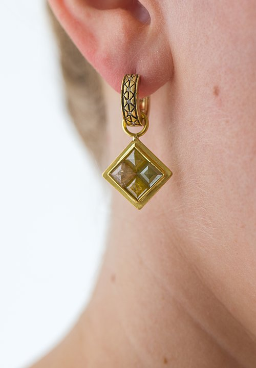 Karen Melfi 22K, Faceted Diamond Tablet Earring Charms