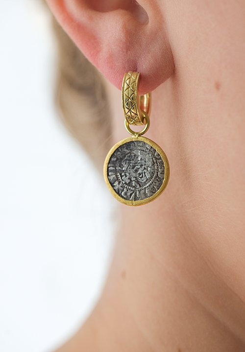 Karen Melfi 22K Rimmed, Small English Coin Earring Charms
