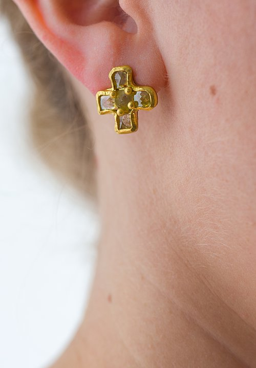 Karen Melfi 22K, Diamond Cross Earrings