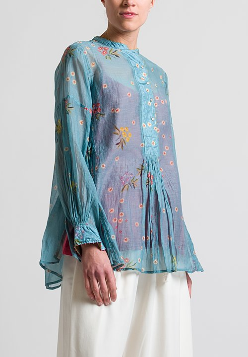 Péro Gathered Floral Top in Sky Blue