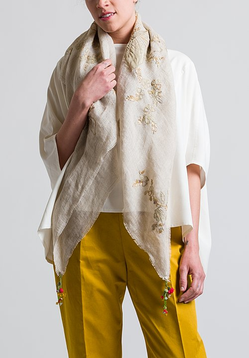 Pero Floral Embroidered Rumal Scarf