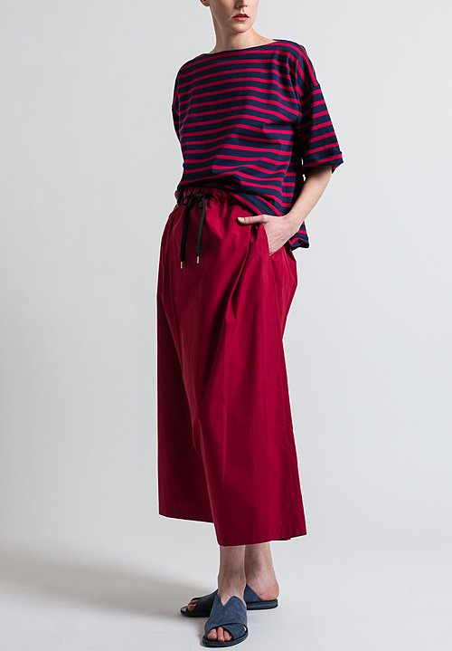 Marni Oversized Stripe Jersey T-Shirt in Navy / Red